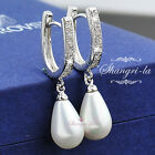 9K WHITE GOLD GF Teardrop PEARL EARRINGS Made With SWAROVSKI CRYSTAL EX421 NEW