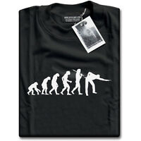 Evolution of Snooker or Pool Ape to Player Mens Black NEW T-Shirt Top Gift