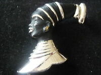 VINTAGE  NEGRESS AFRICAN TRIBAL BLACKAMOOR BROOCH 1950's