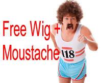 118 Running Vest & Shorts Mens Fancy Dress + WIG + TASH