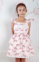 New Girls Pink Floral Summer Cotton Party Dress 2-3 Years