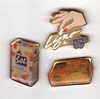 Pinsfolies *** Lot de 3 pin's badges sucre sugar main Beghin say