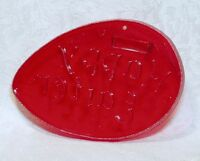 HRM Vintage Red Plastic Cookie Cutter - Happy Easter Egg