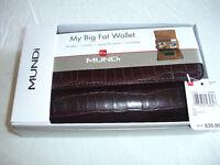 Mundi Big Fat Croco BROWN Wallet Gift Box NIB NWT US $35 All In One Checkbook