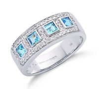 Blue Topaz and Diamond Ring 9k White Gold Appraisal Certificate