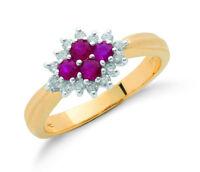 9k Yellow Gold Diamond & Ruby Cluster Ring - British Made - Hallmarked size K-S