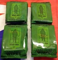 4 x Packs NEW Web-Tex Army Delux Wipes For Camouflage Cream Face Paint & Grime