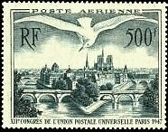 "FRANCE TIMBRE STAMP AVION N°20 ""12e CONGRES, LES PONTS DE PARIS"" NEUF X TB"