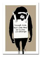 BANKSY  MONKEY `laugh Now' QUALITY CANVAS PRINT A2 - Street Art Poster -tan