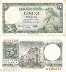 SPAIN 5 Pesetas Banknote World Money F- Old Currency Europe Note BILL 1954 p146