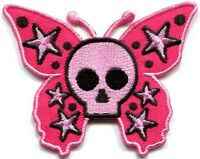 Butterfly skull horror goth emo punk biker applique iron-on patch new S-183