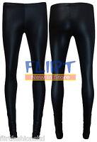 Womens Ladies Wet Look Leggings Black Shiny Skinny Fitted Pants Trousers UK 8-14