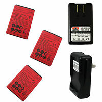 3x New 1800mAh Battery +Dock Wall Charger for Sprint HTC EVO 4G Red