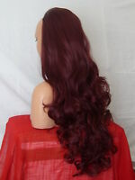 Half Wig Fall Clip In Hair Piece Natural Curly Long 3/4 wig fall Plum Red  X-16