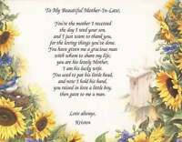 Personalized Poem for Mother-In-Law Choose Art Background Great Christmas Gift