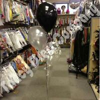 Birthday Party Helium Balloon Cluster DIY Kit - Black & Silver Age 18 21 30