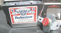 BUDWEISER Custom Beer Bottle Opener & Card / Cap Catcher  Bud NIB