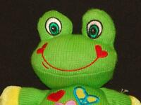 KNIT SOCK MONKEY MATERIAL SMILING GREEN FROG DANDEE PLUSH STUFFED ANIMAL TOY