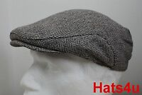 MENS TWEED WOOL FLAT CAP BROWN WHITE Herringbone 58CM M NEW