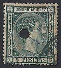 SPAGNA 1875 - 4 p. ALFONSO XII n.161 USATO CON FORO € 610