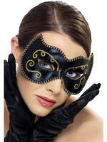 Black & Gold Glitter Persian Cat Eye Mask Venetian Mask Masked Ball Fancy Dress