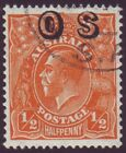 """1/2d ORANGE KGV WITH GROSSLY OFF CENTRE """"OS"""" OVERPRINT"""