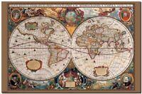 "VINTAGE WORLD MAP 1600's  CANVAS ART PRINT poster 16""X 12"""