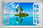 """Beautiful Tropical Island Window View A1 CANVAS PRINT Poster 32"""" X 24"""""""