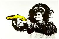 "Banksy style Monkey with Banana Gun Pop Art Poster A1 CANVAS PRINT 32"" X 24"""