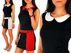 Elegance Deux-Couleurs Femmes Robe Motif Unique Tunique Style Taille 8-16 FA13
