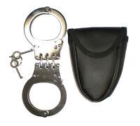 HINGED Handcuffs POLICE HEAVY DUTY Hand Cuffs Double Locking Case + 2 Keys