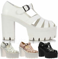Ladies Women Chunky Cleated Platform Sole High Heel Strappy Sandals Shoes Size
