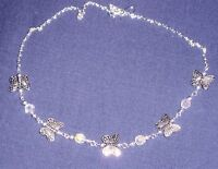 SPARKLY CRYSTAL & TIBETAN SILVER BUTTERFLY NECKLACE