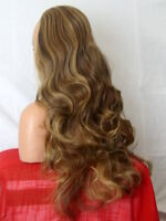 Half Wig Fall Clip In Hair Piece Curly Long 3/4 wig fall Brown highlight X25