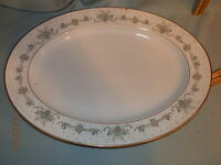 "NORITAKE CHINA ALLSTON 6304 Large 15"" Oval Serving Platter Gilded Edge"