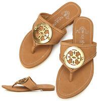 New Lovely Womens Comfort Flats Shoes Brown Flip Flops Sandals