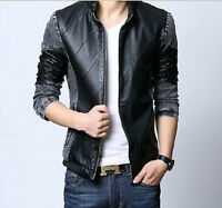 stylish New Men's Slim Fit Cool Stand Collar PU Leather Denim Jacket Coat Korean