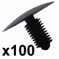100x Plastic Trim Clips- Fits 9-10mm hole- 33mm Head