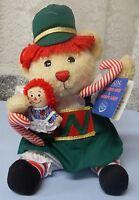 """9 1/2"""" Sitting RAGGEDY CHRISTMAS NUTCRACKER BEAR WITH 3"""" RAGGEDY ANN DOLL MIP"""