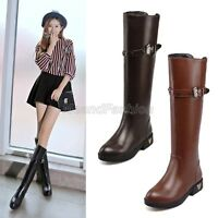 Womens Ladies Studded Buckle Strap Low Heel Knee High Riding Boots Shoes 830