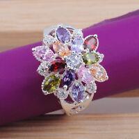 Women Round Cut Topaz Gemstone Silver Statement Ring Size6 7 8 9 KJ