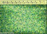 Quilting Treasures ~ Jim Shore Green CALICO ~ 100% Cotton Quilt Fabric Remnant