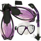 Scuba Dive Snorkeling Mask Dry Snorkel Fins Gear Set
