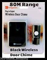 PLUG IN BLACK DIGITAL WIRELESS DOOR BELL CHIME PUSH CORDLESS FRONT BACK DIGITAL