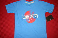 BOYS NIKE RBI GUY BASEBALL SHIRT BLUE WITH RED CHILDS 6 7 OR 7X S/S NWT
