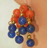 Cute Red And Blue Lucite Clip Dangle Cha Cha Earrings 115MY6