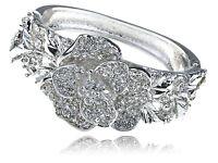 Simple Crystal Rhinestone Silver Tone Fancy Flower Bracelet Bangle Cuff Jewelry