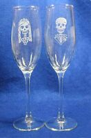 Skeleton Day of the Dead Halloween Wedding Glasses Flute Engraved Personalized