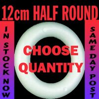 12cm Polystyrene HALF round rounded Rings Wreaths for craft christmas florist