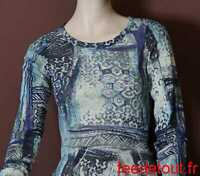 haut  tee shirt effet transparent motif bleu creme entracte t 38 made in france